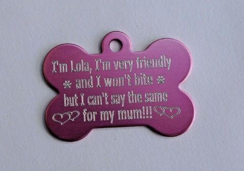 FUNNY PERSONALISED DOG TAG I WON'T BITE BUT MY MUM MIGHT 38MM BONE TAG 9 COLOURS